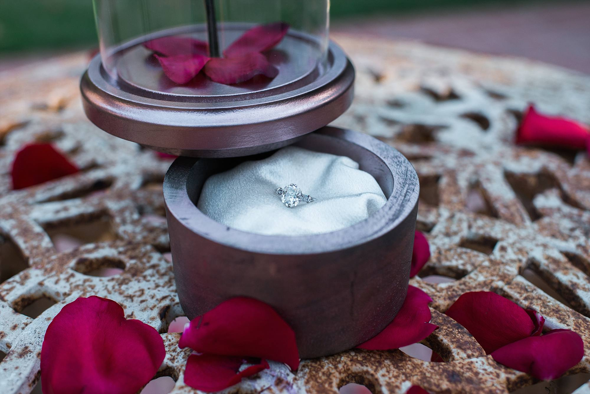 Diamond engagement ring sitting in silk rose box inspired by Beauty and the Beast