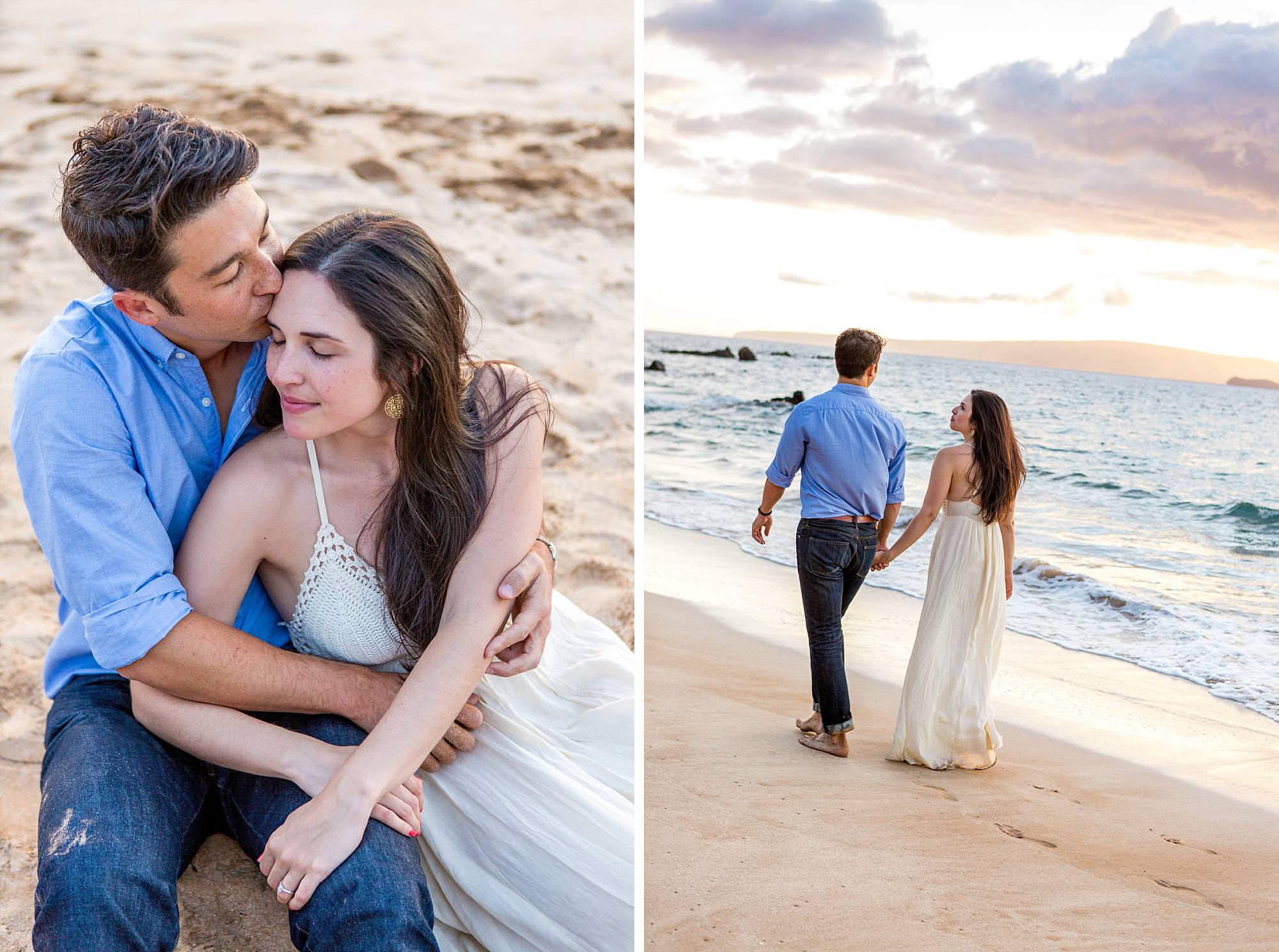 sweethearts cuddling on beach after engagement