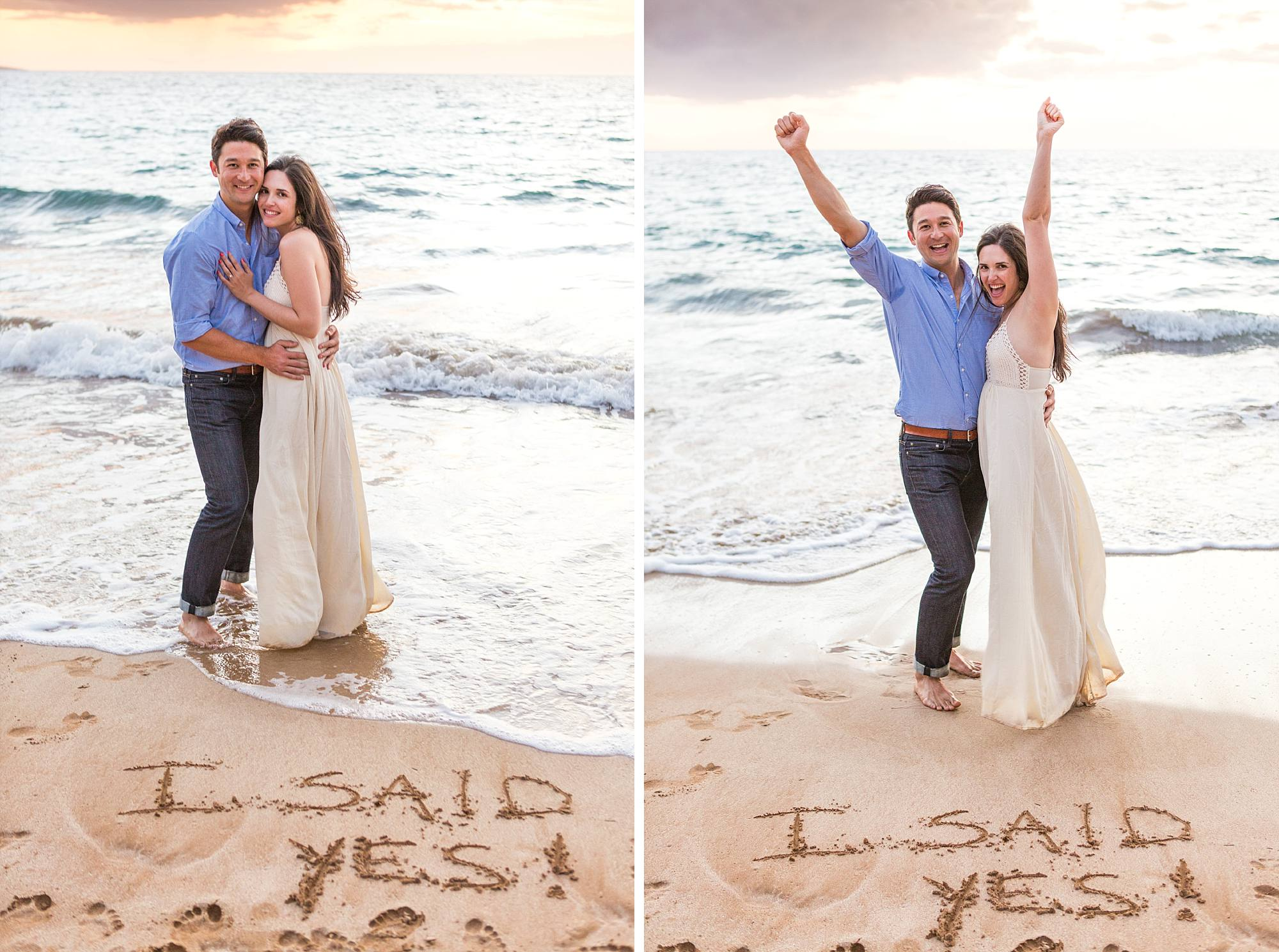 I said Yes written in the sand and couple raising their arms in victory behind them