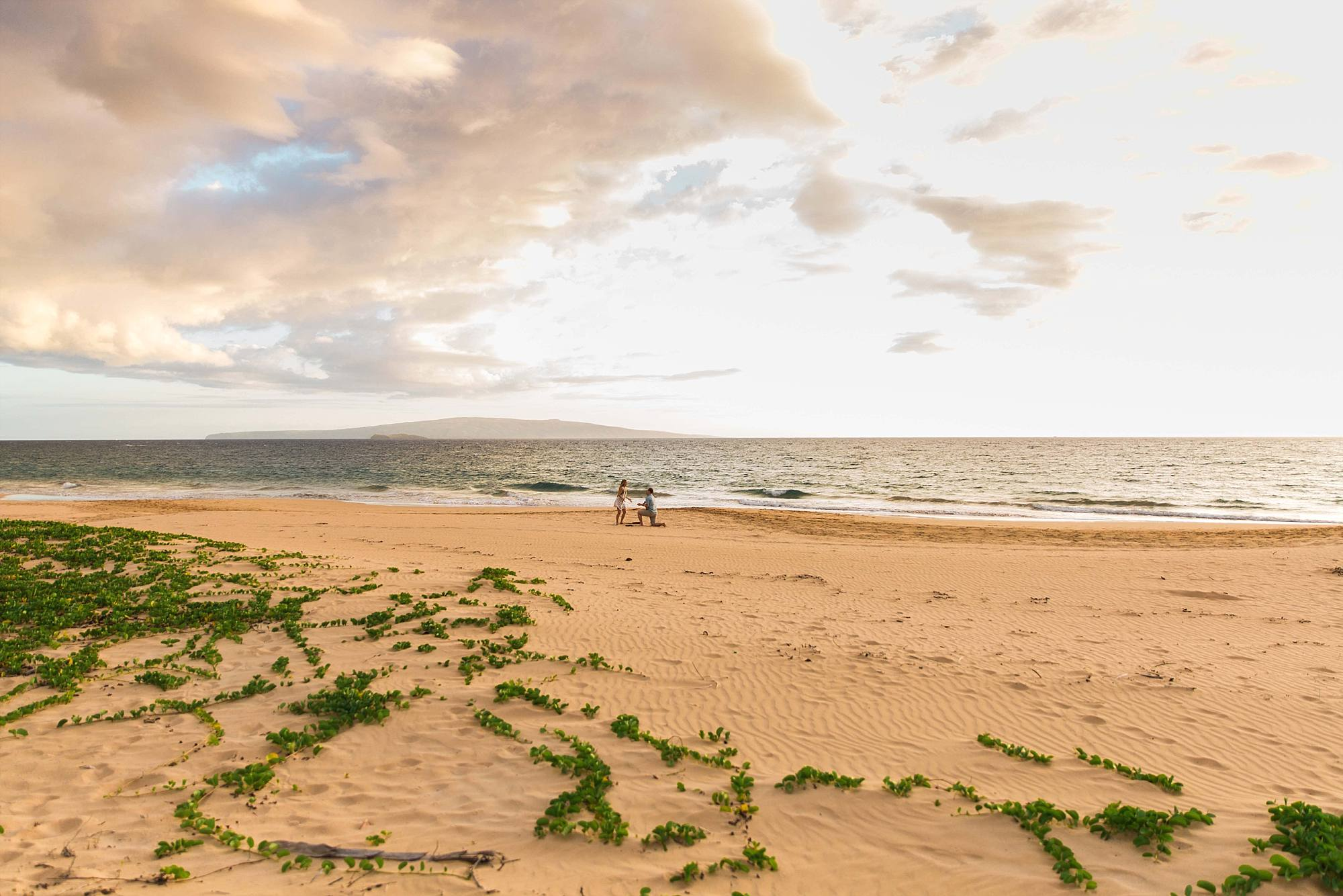 gorgeous landscape shot of wide open maui beach with man down on one knee in the sand
