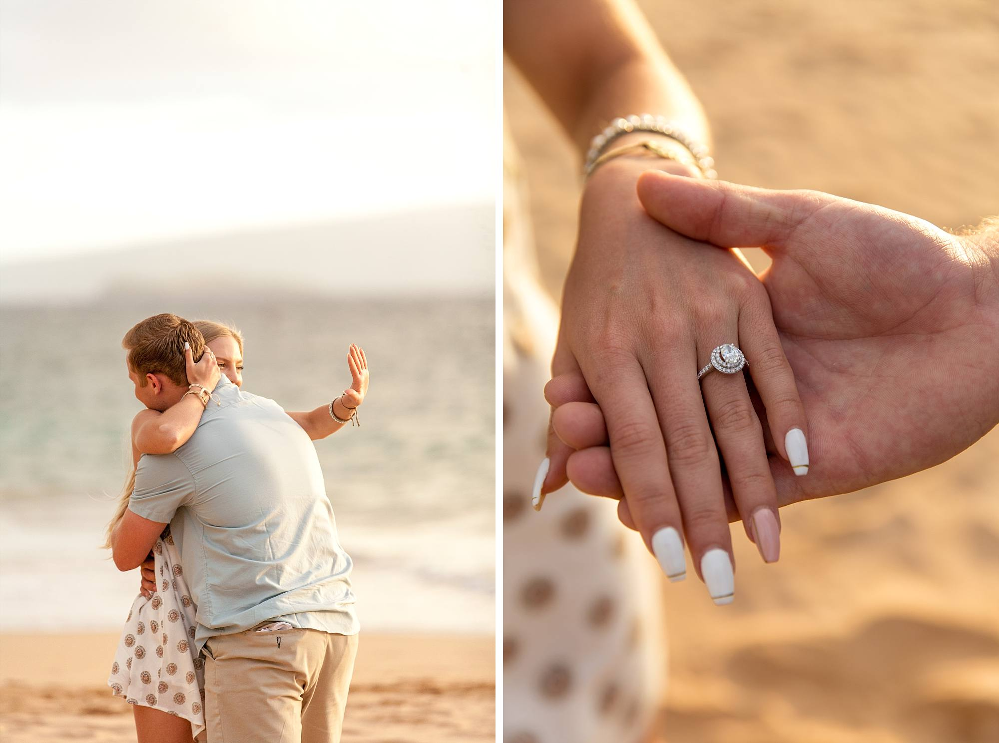 woman gazing at her engagement ring and a hand shot of her engagement ring