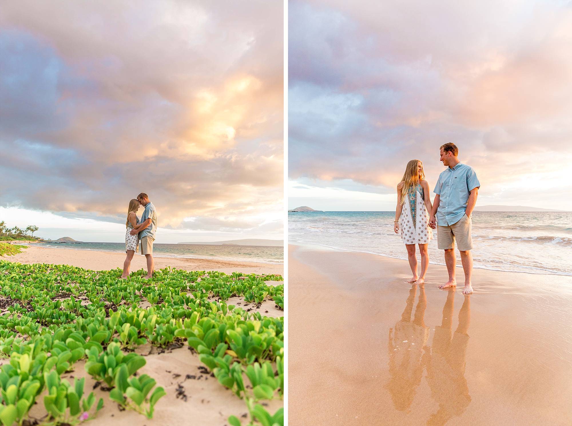 sweetheart shots of gorgeous couple kissing and holding hands on Maui's South shore beach