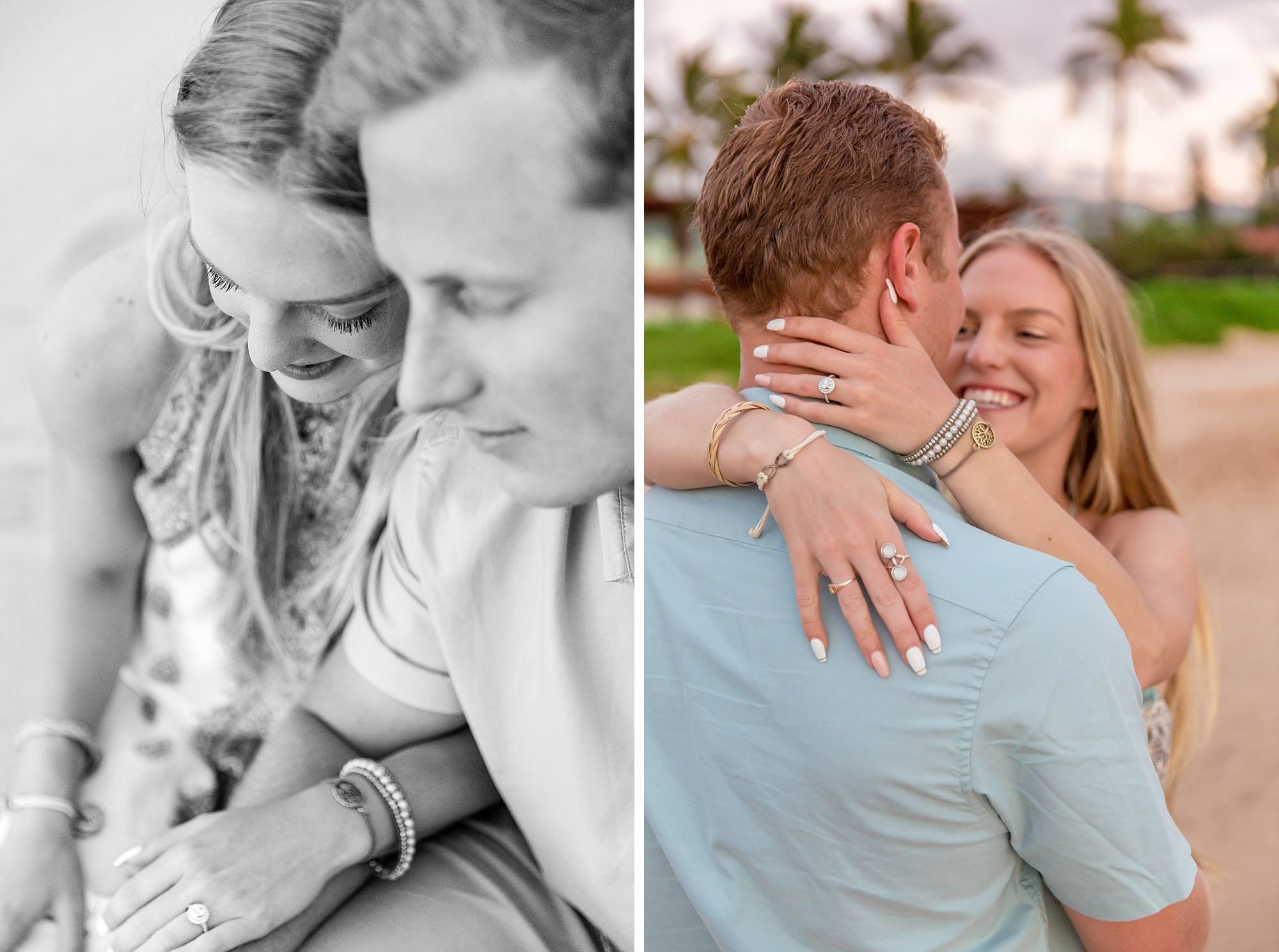 engagement photos, fiances hugging and cuddling close