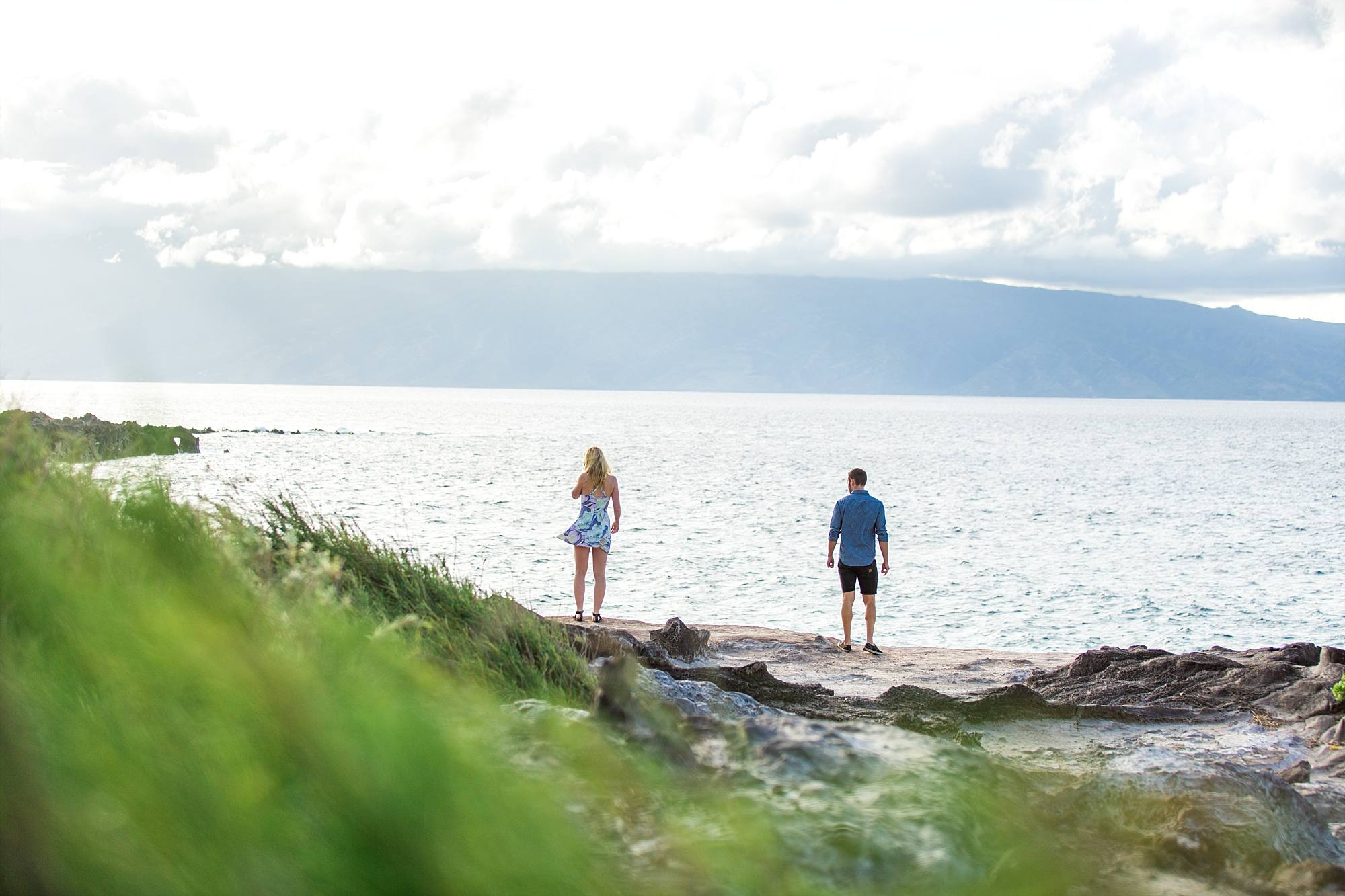 couple walking along the cliffs