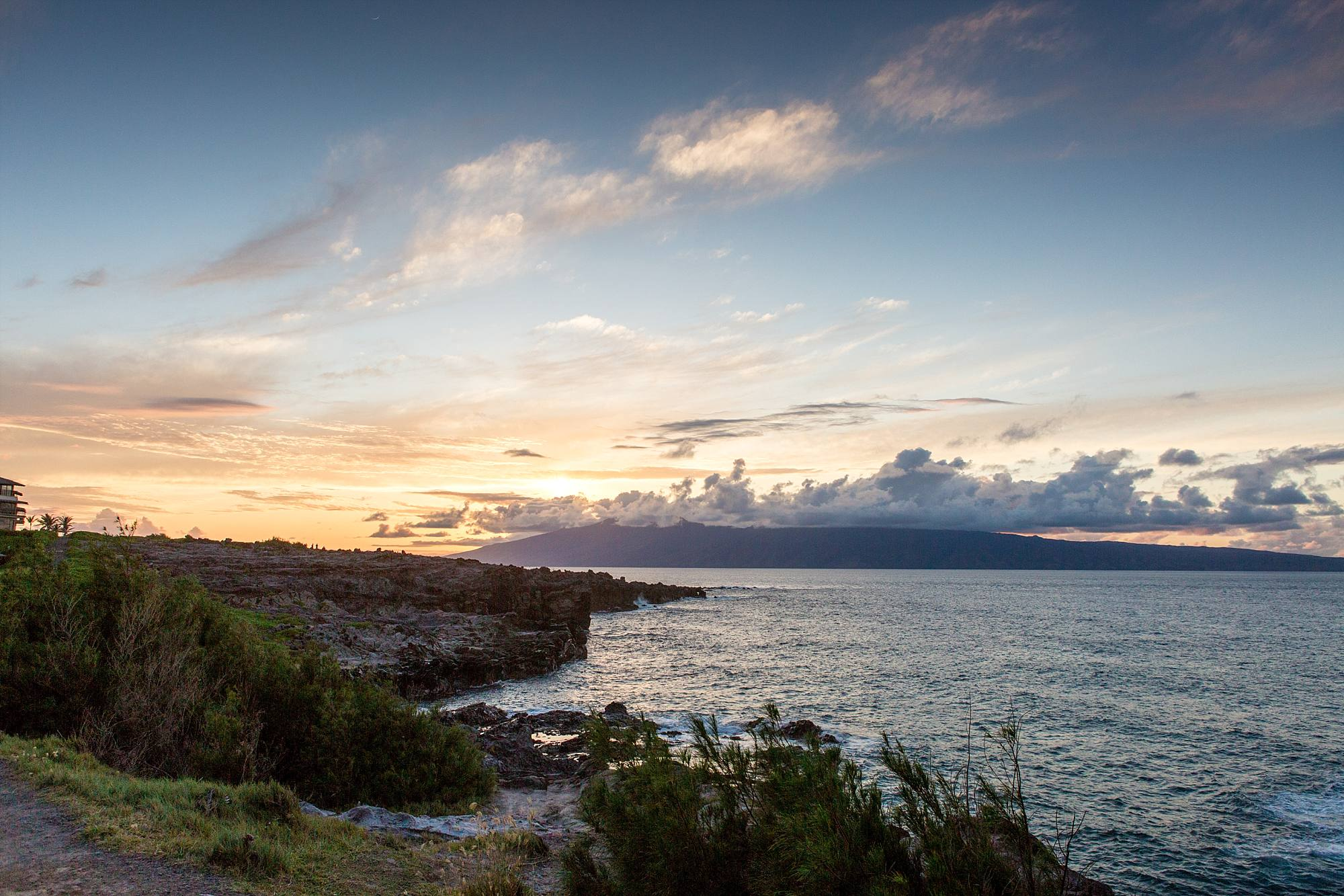 sunset off the cliffs of northwest Maui landscape shot