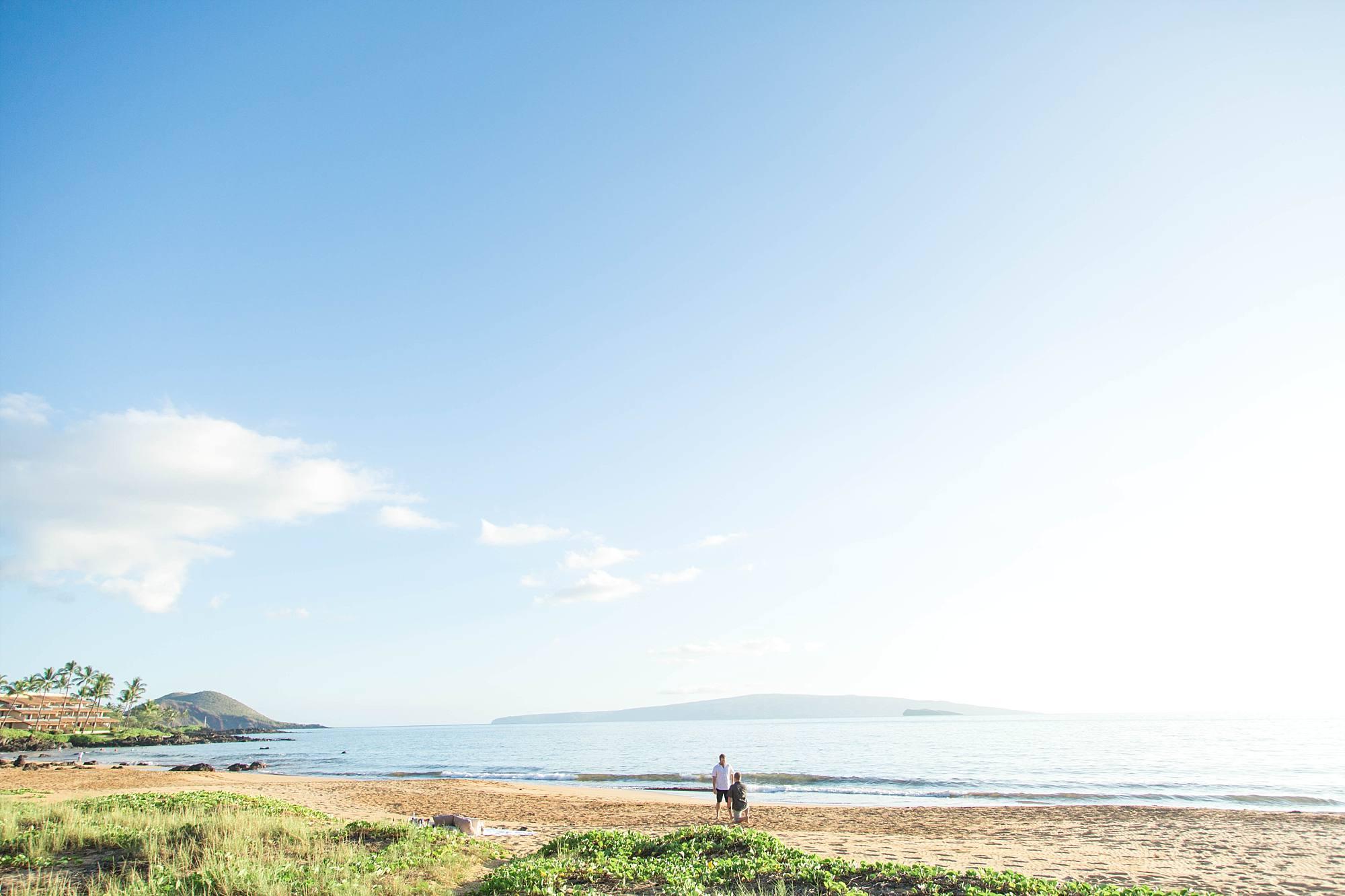 proposal on Maui, Kahoolawe in the distance, at a beautiful South Maui beach