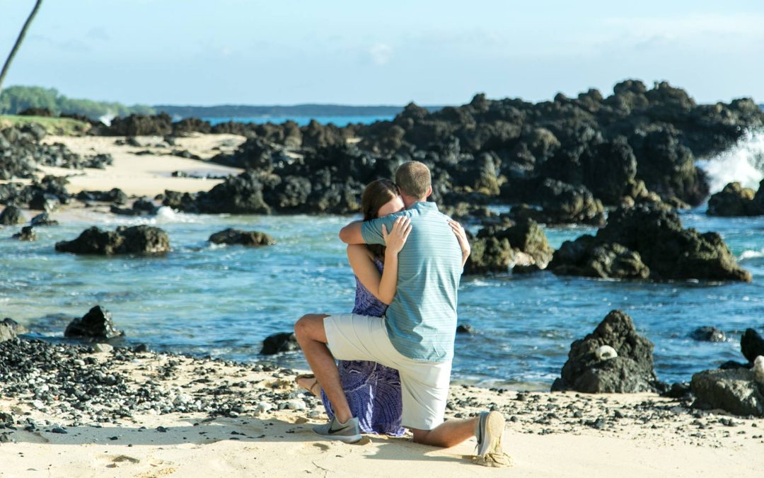 Lava Rocks, Beach, and Palm Tree South Maui Proposal | Robert + Leigh