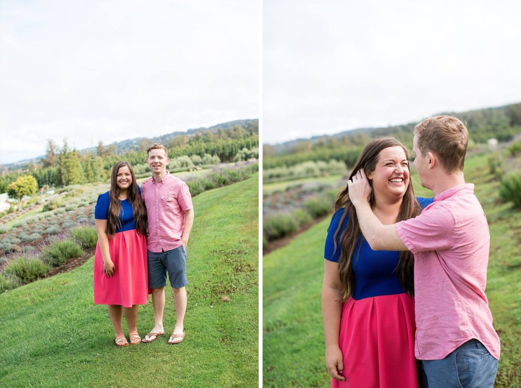 man tucking his fiance's hair behind her ear during their engagement session