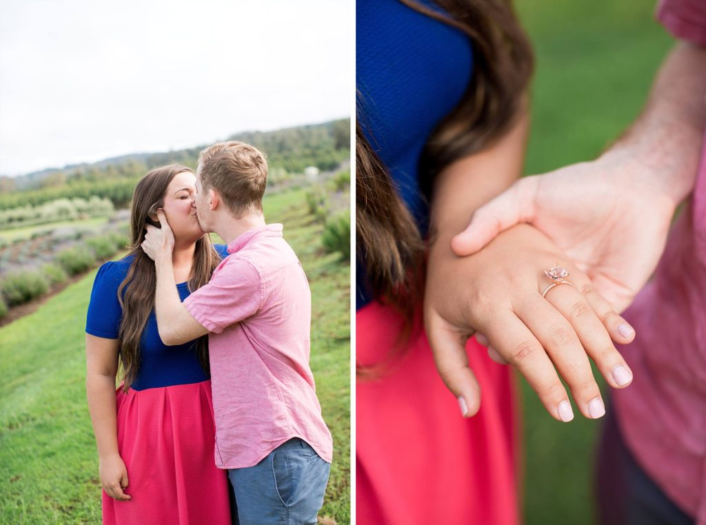 newly engaged couple sharing a kiss and showing off her awesome ring