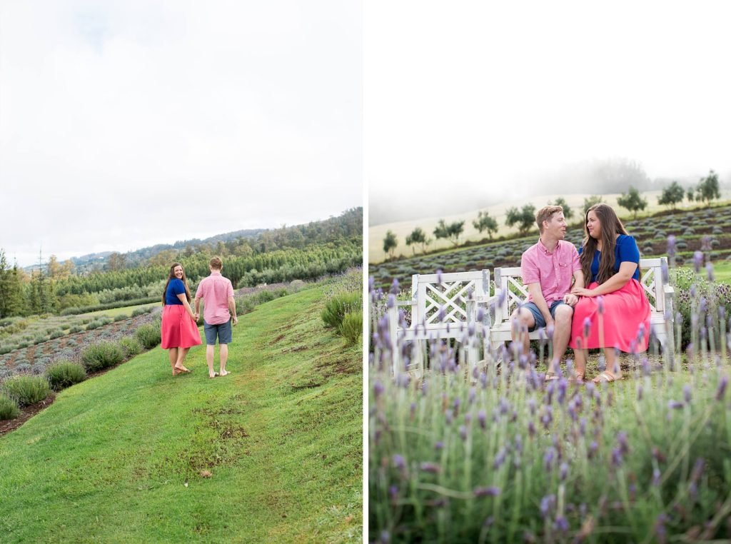 fiances strolling through the Ali'i Kula Lavender farm after their romantic proposal