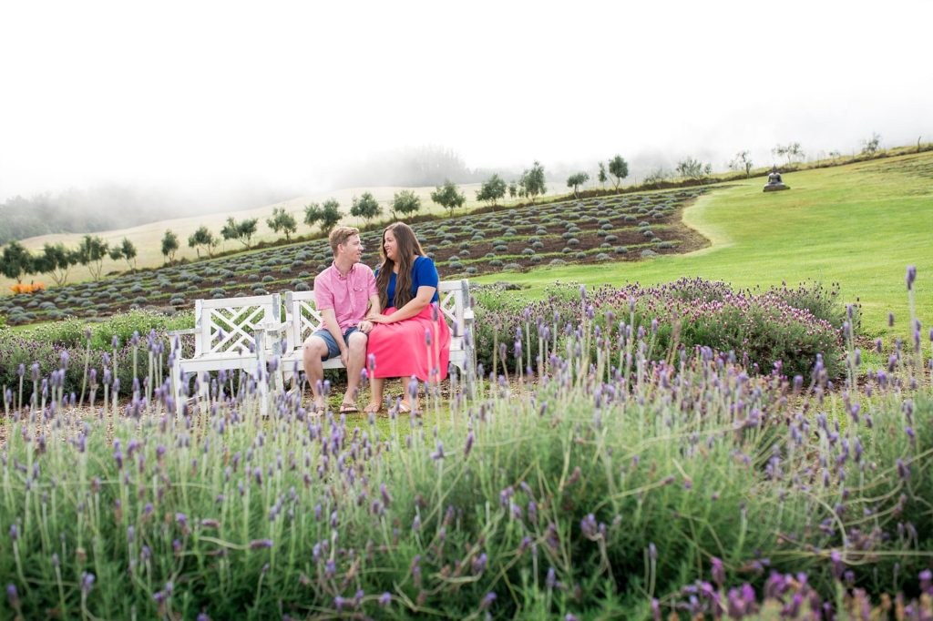 couple sitting on a white bench together on the side of Haleakala with clouds just above them and lavender fields surrounding them