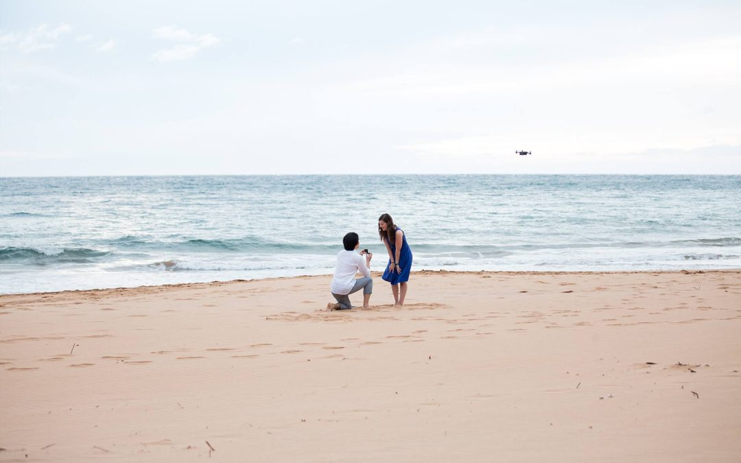 Unique Beach Proposal Using a Drone | Jonathan + Christina