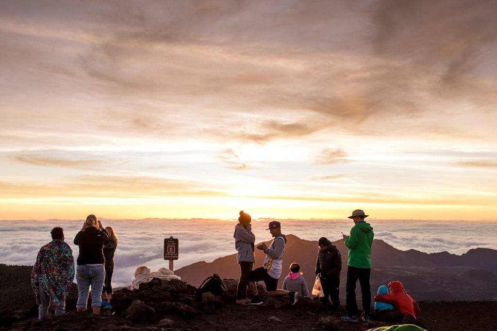 Crowds at Haleakala during sunrise