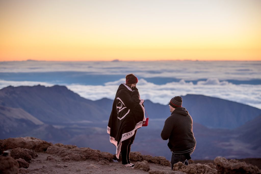 Cold weather during Haleakala sunrise proposal