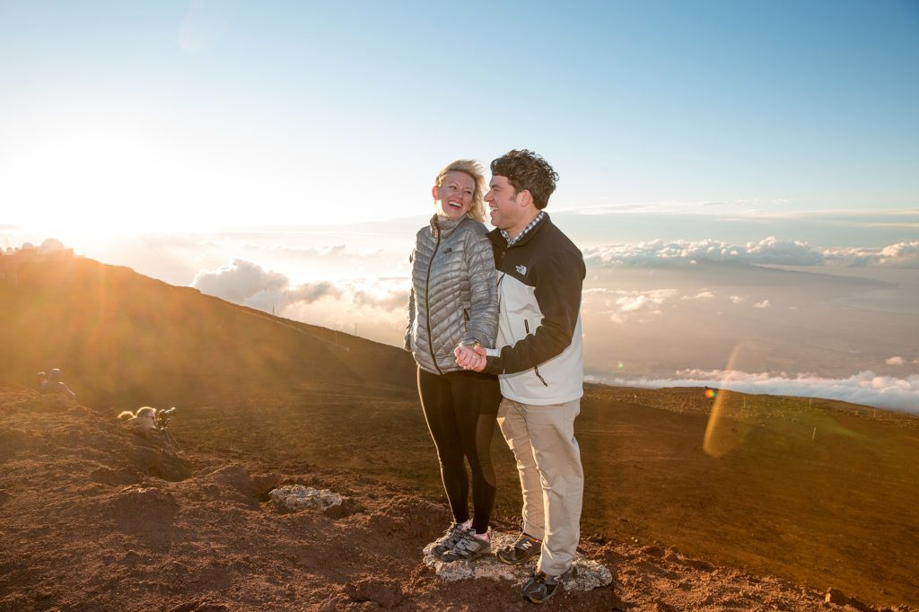 Couple bundled up for Haleakala weather conditions