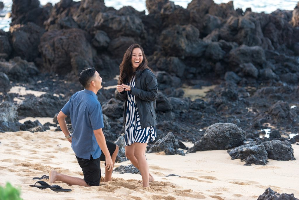 Surprised reaction after Maui proposal in the morning