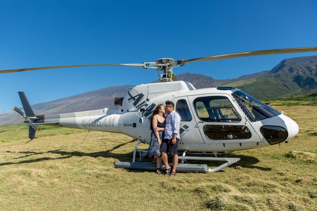 Celebrating Maui proposal with helicopter tour