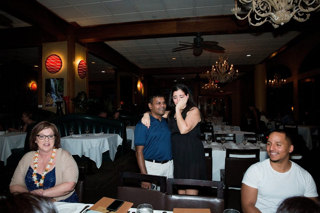 Friends surprise at dinner after Maui proposal