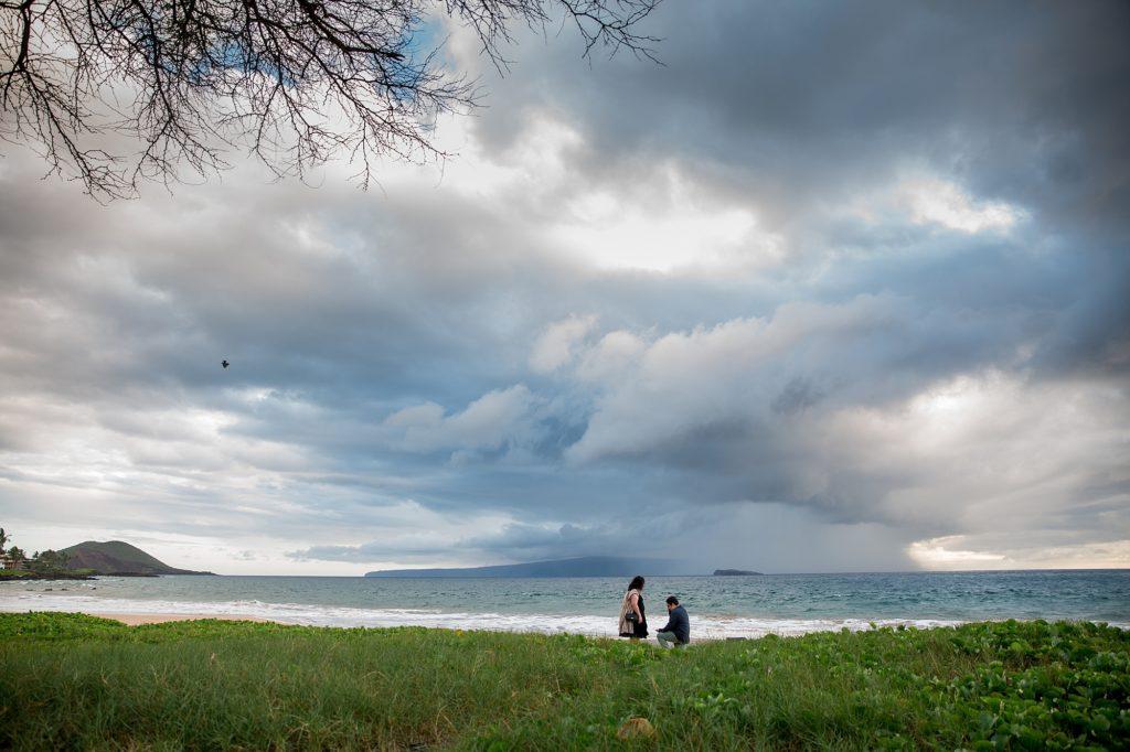 Maui proposal with cloudy sky