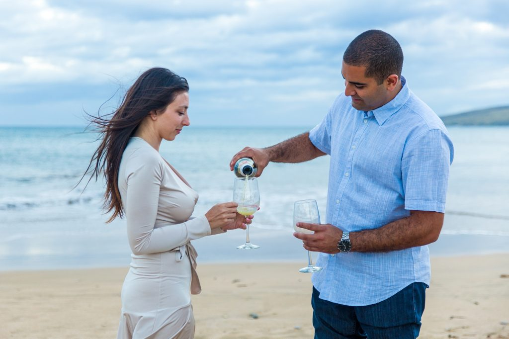 Sparkling cider toast after engagement