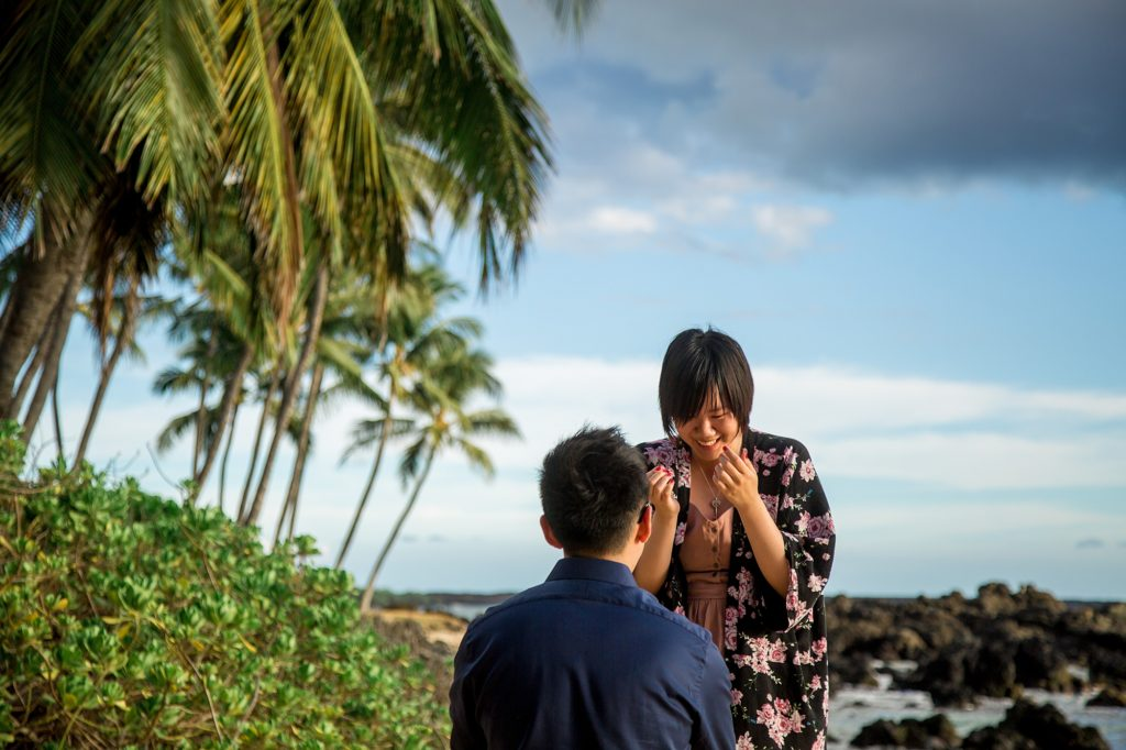 Beach proposal in Maui with palm trees and lava rocks
