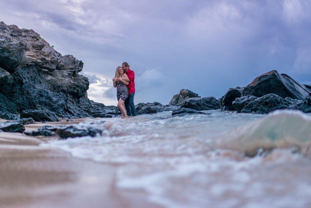 Romantic beach engagement in Maui