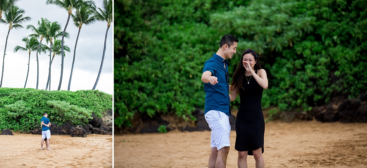 surprise proposal on secluded rock beach
