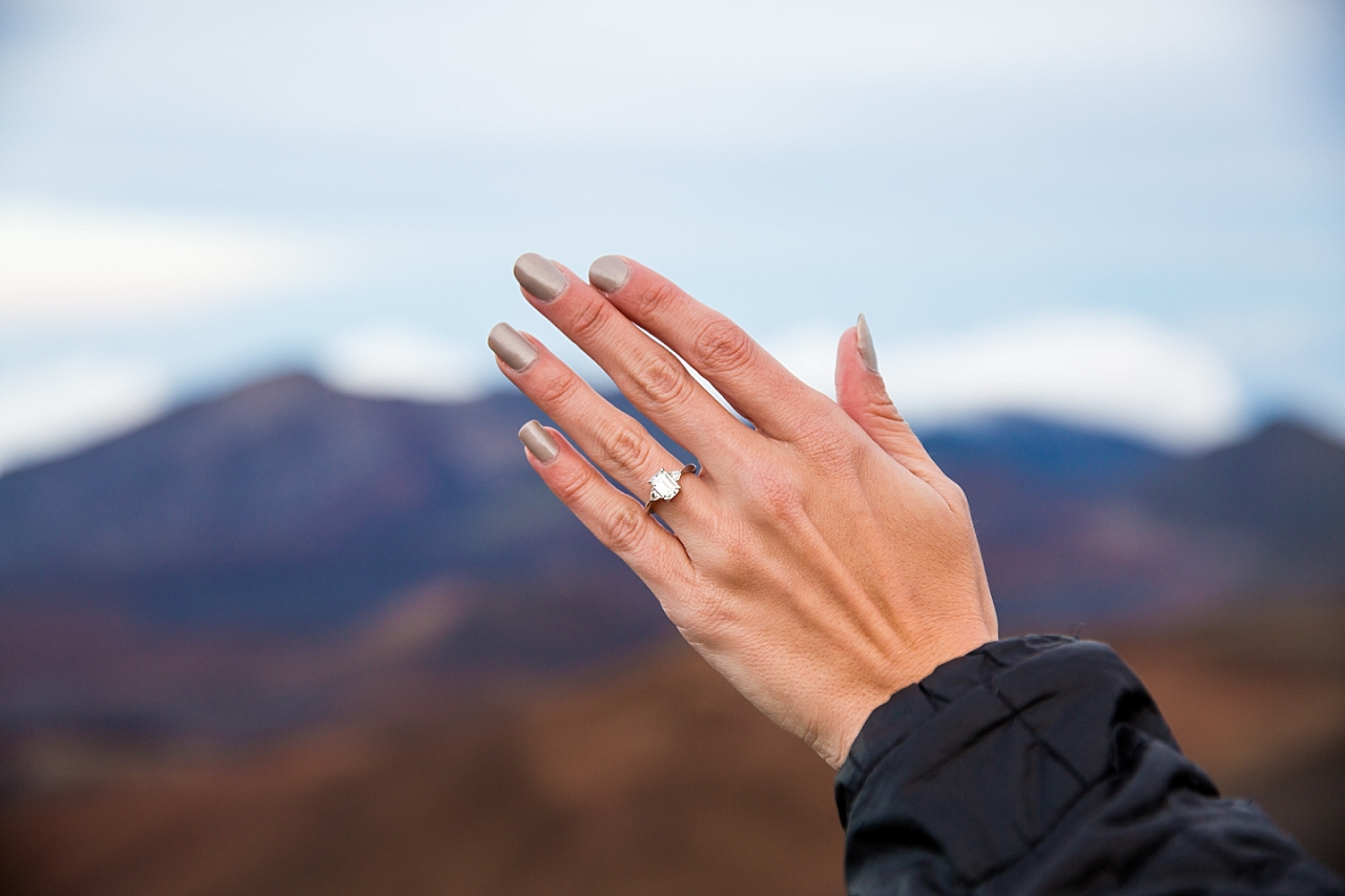 engagement ring at Haleakala Crater Proposal
