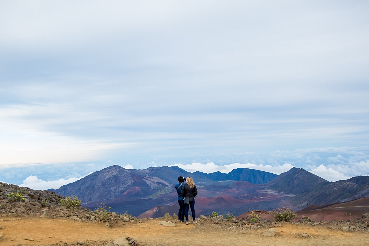 couple taking in view at Haleakala Crater Proposal
