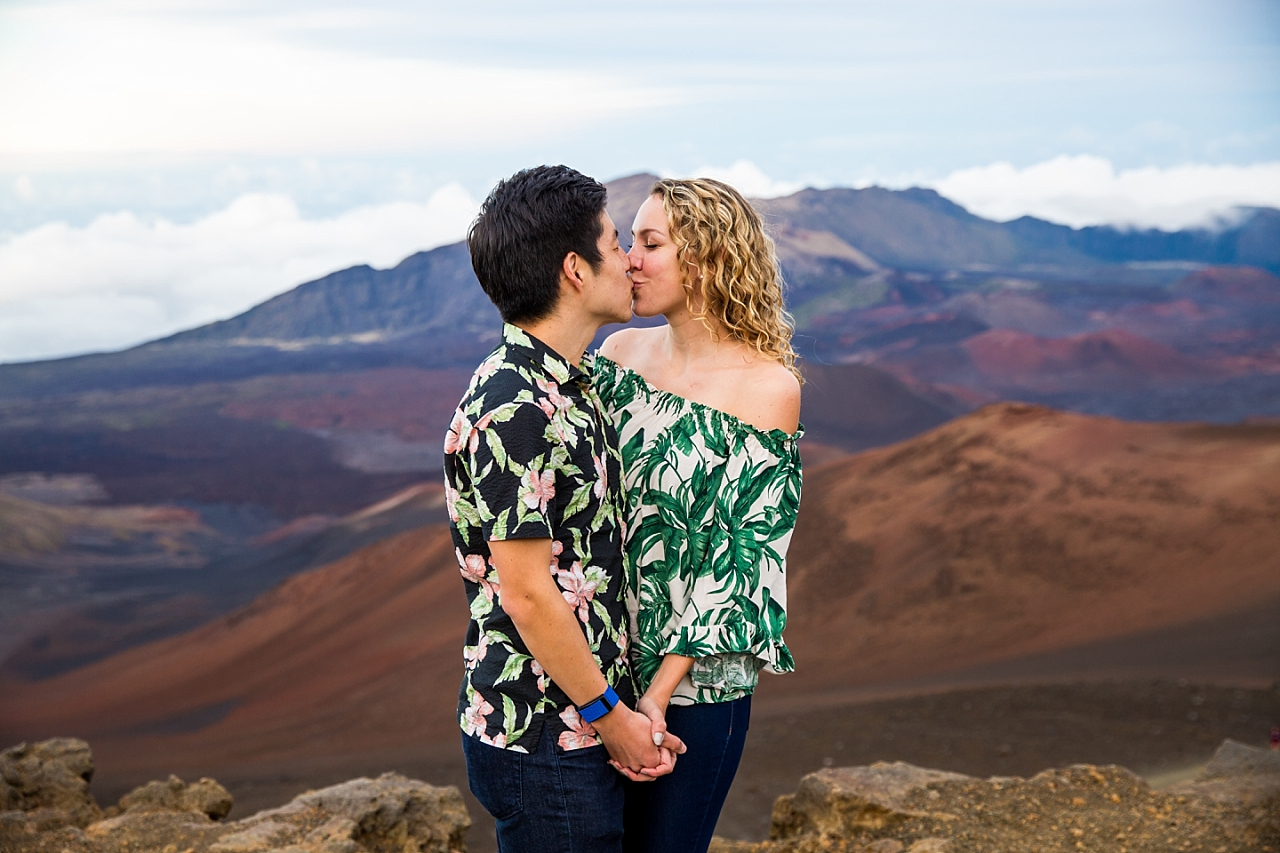 couple kissing at Haleakala Crater Summit Proposal