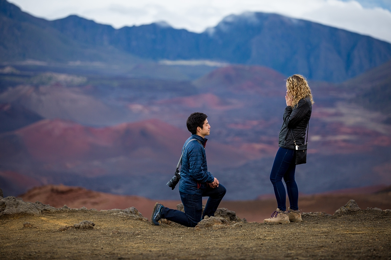 man down on one knee at Haleakala Crater Proposal