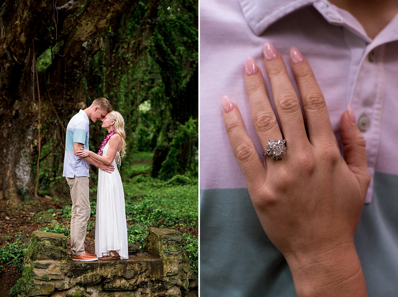 newly engaged couple embrace in maui jungle