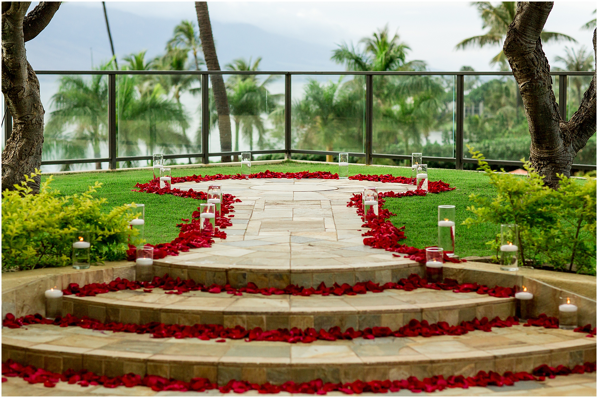 Rose petals scattered for Four Seasons Maui proposal