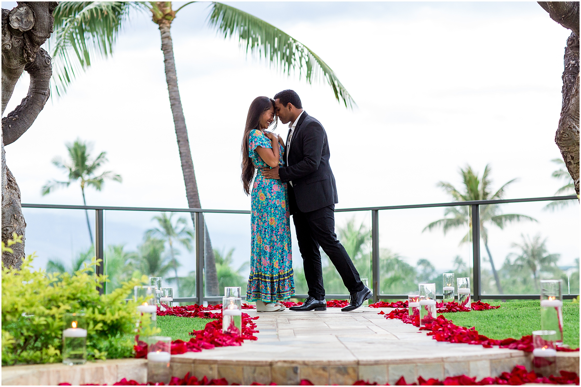 Embracing after elegant Maui proposal