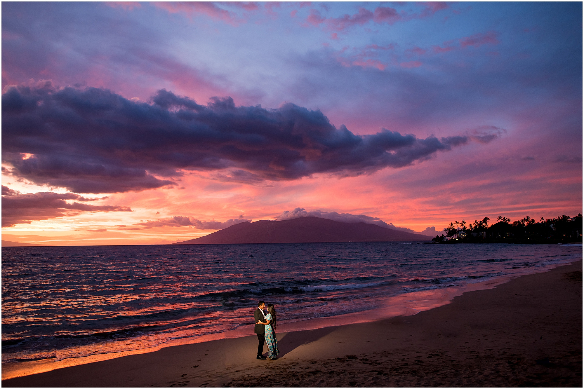 Maui engagement session during colorful sunset