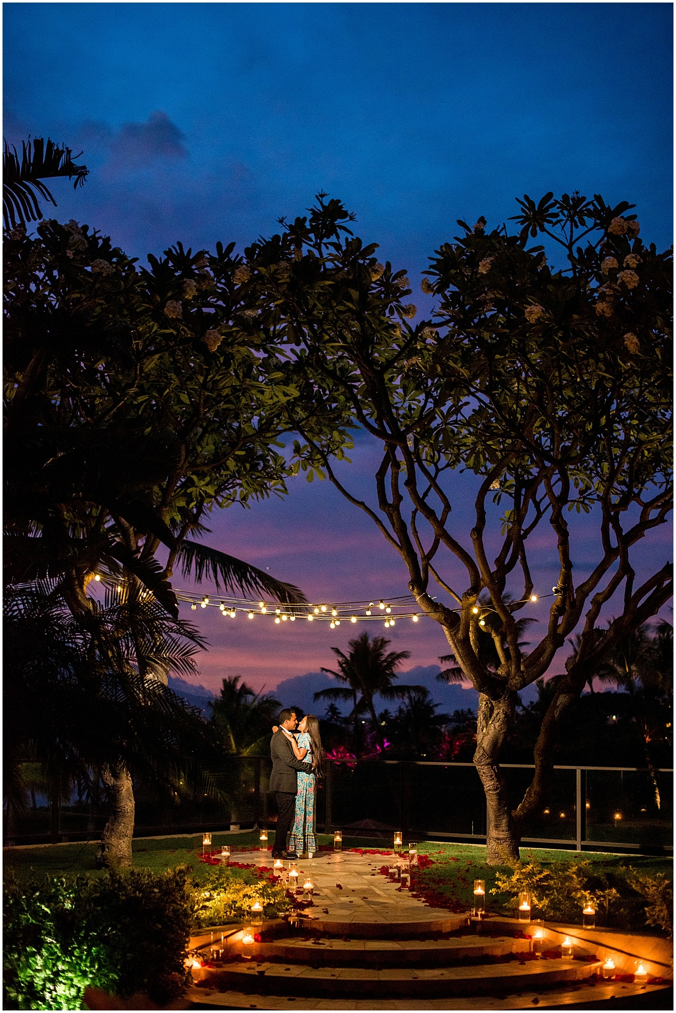 Romantic candlelight Maui engagement session