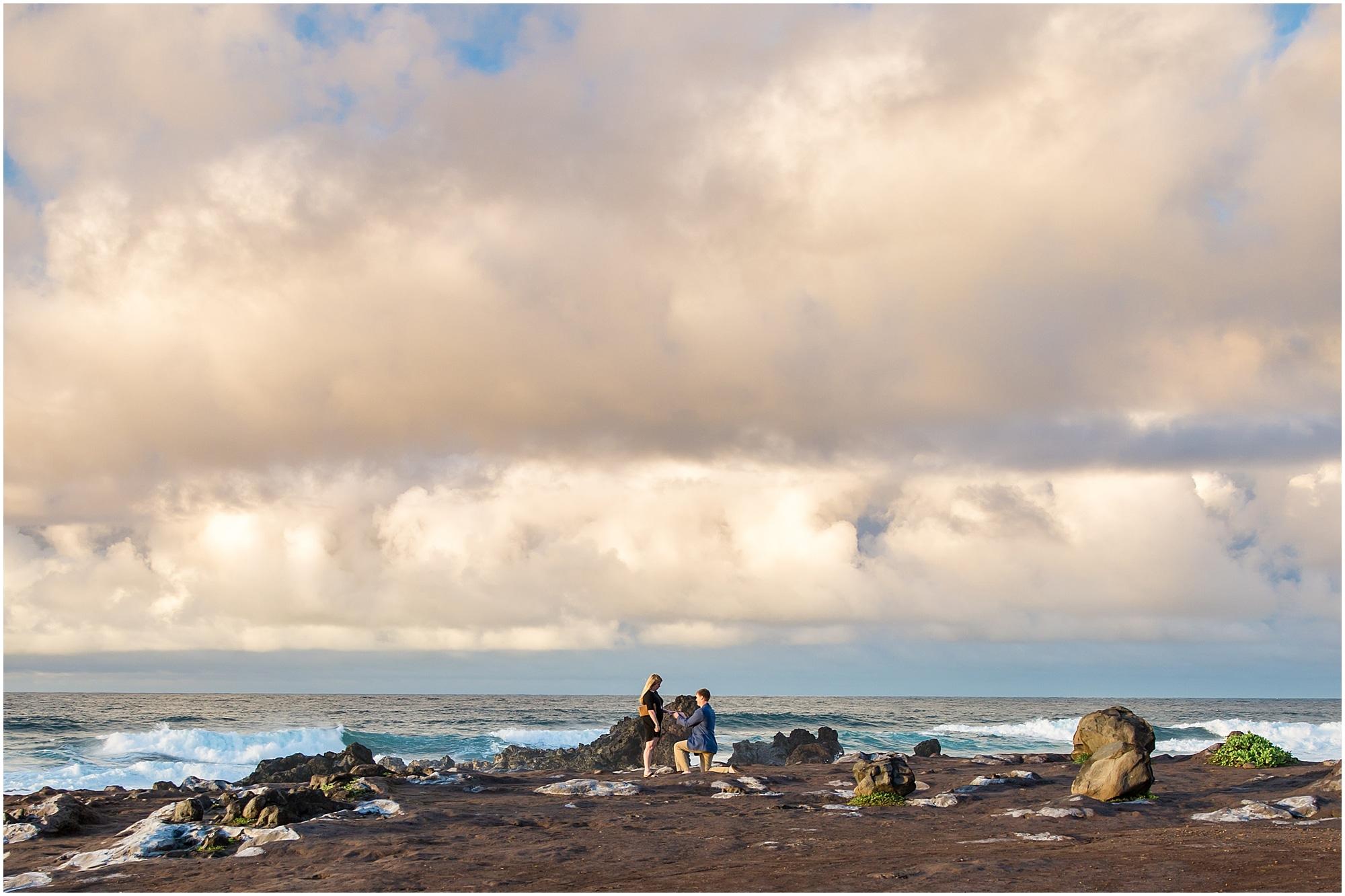 Maui north shore cliffside sunset proposal