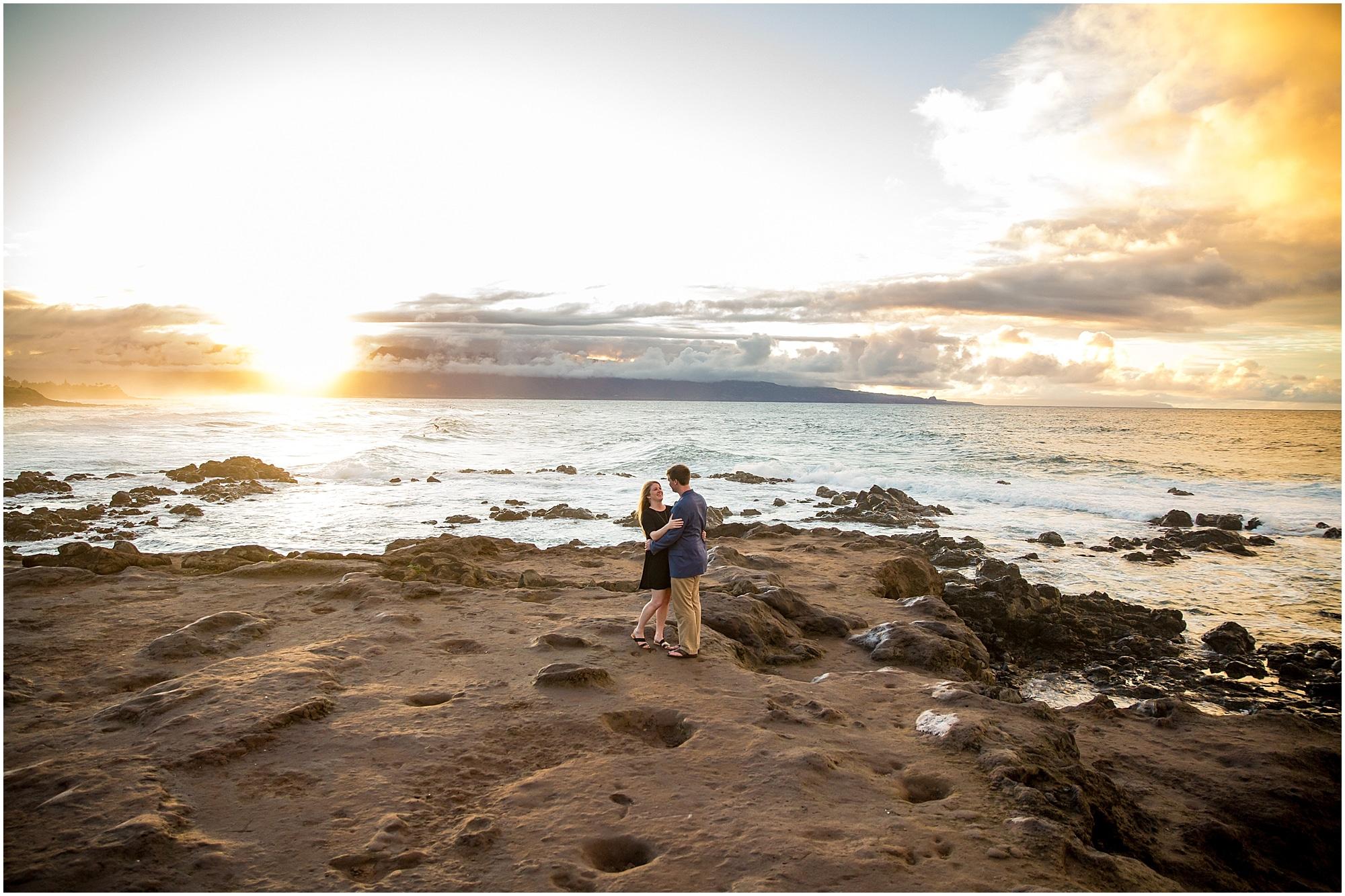 Rugged Maui sunset engagement photography