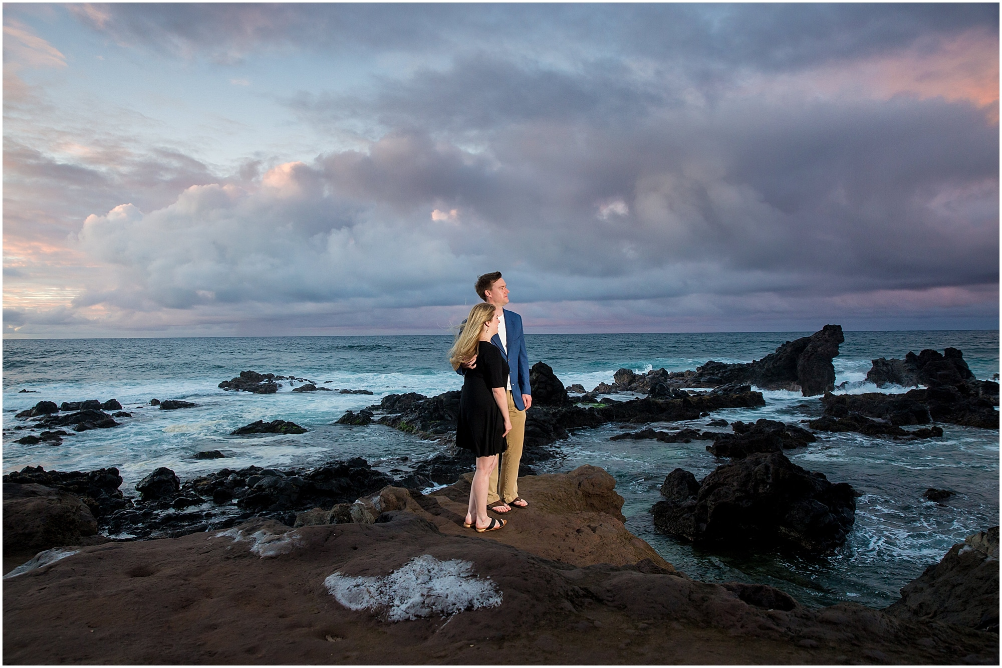 Maui engagement session with ocean and lava rocks