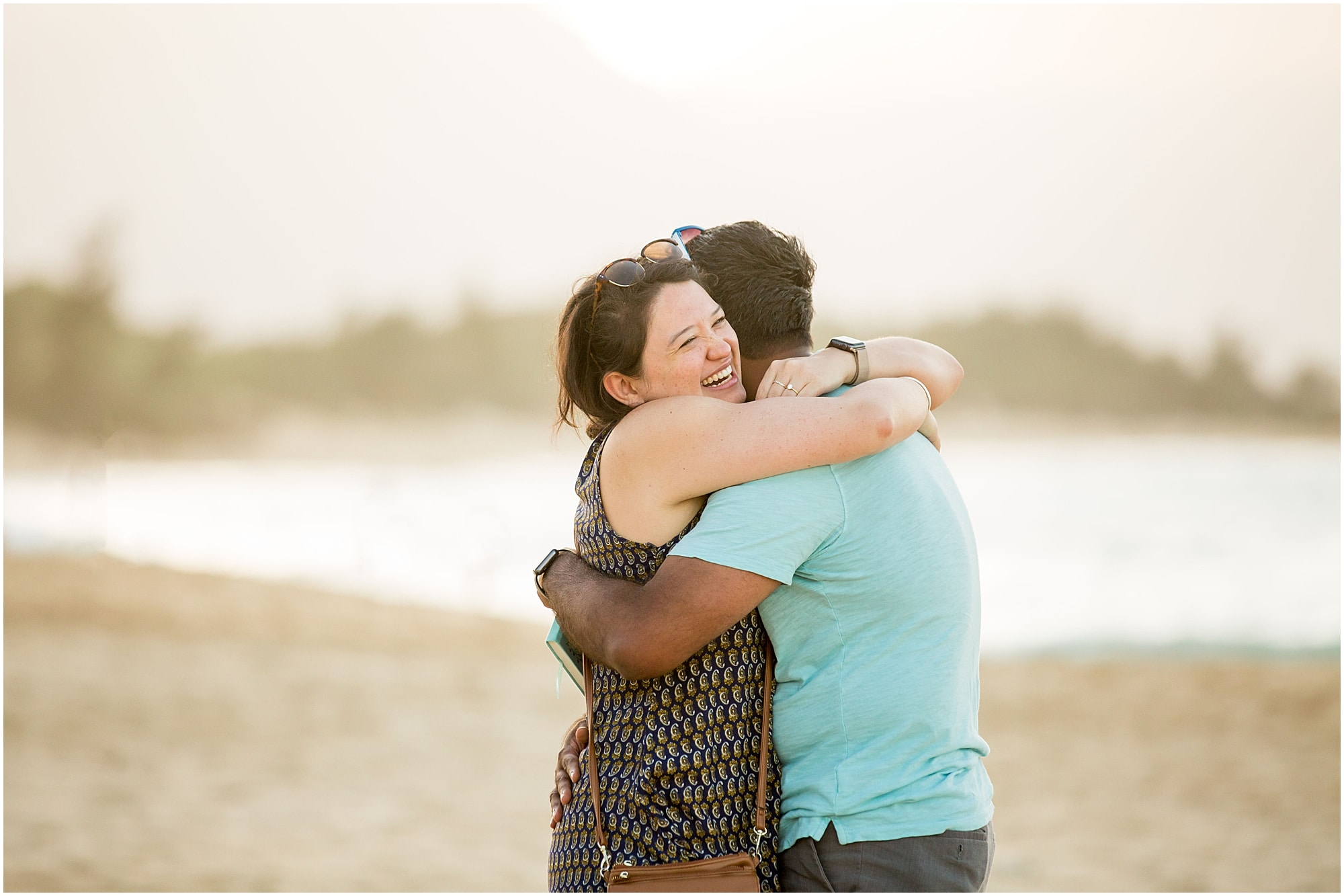 hug after Maui beach proposal