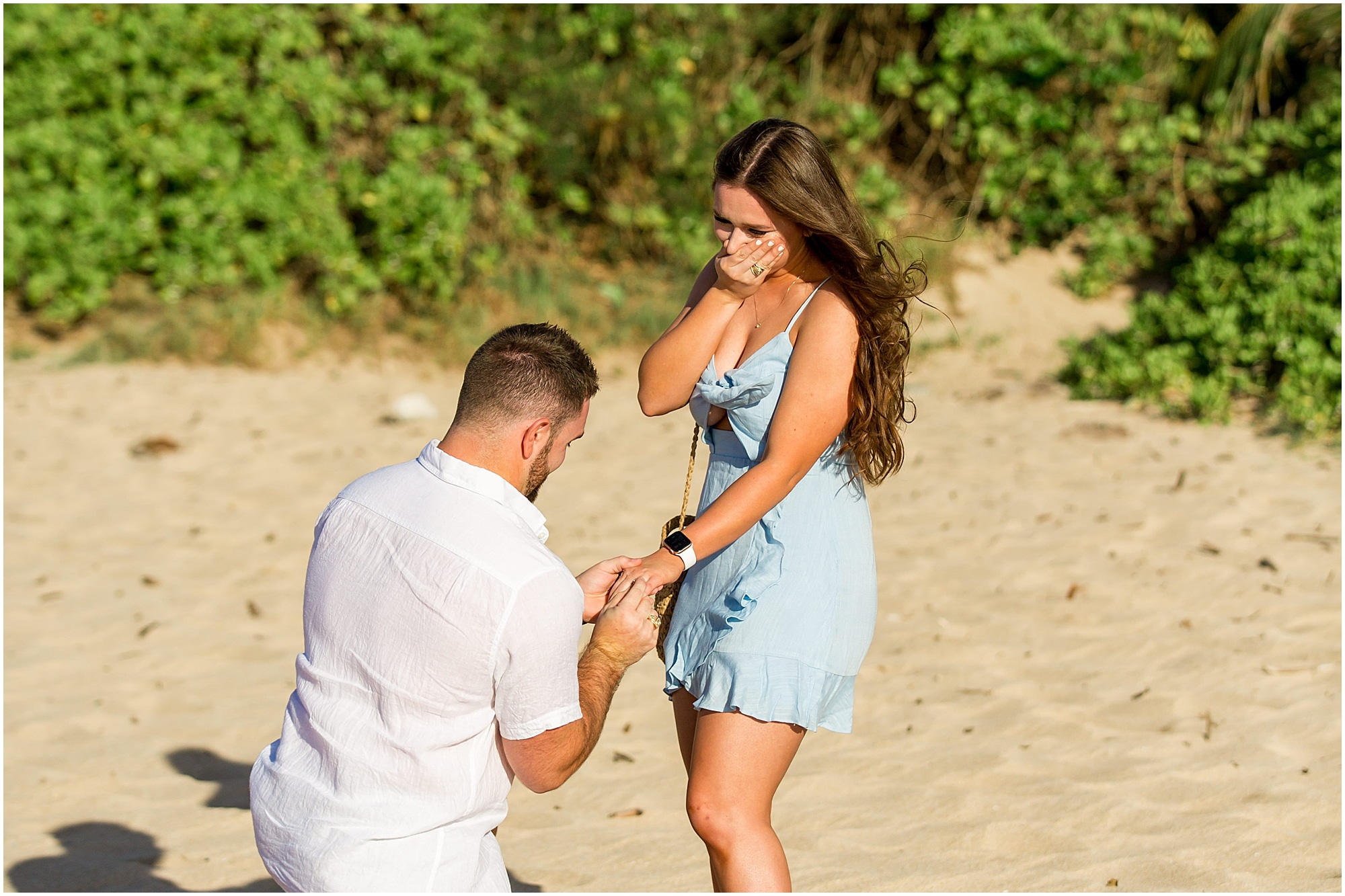 Reaction to putting engagement ring on