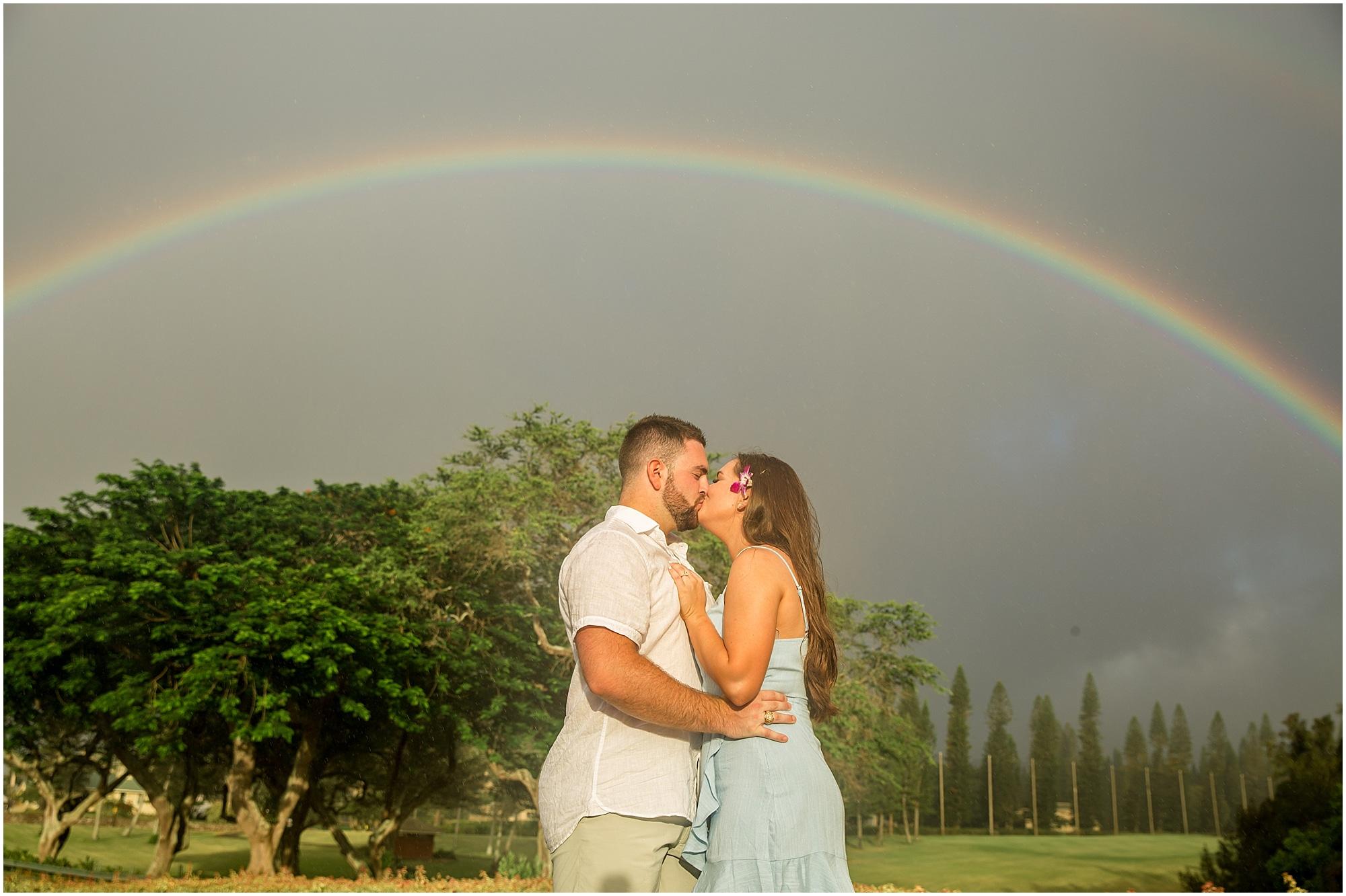 Kissing under a rainbow