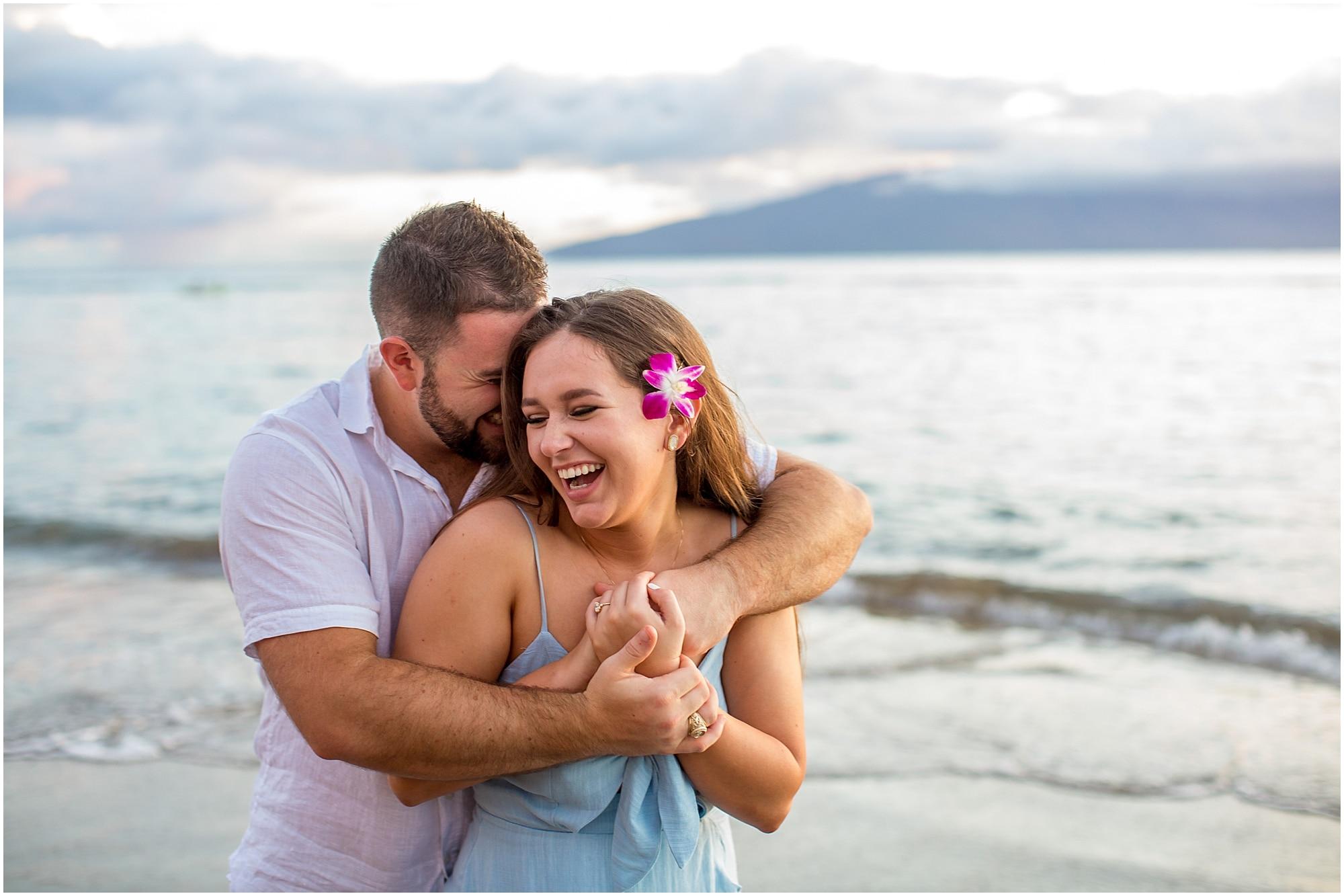 Cuddling on the beach